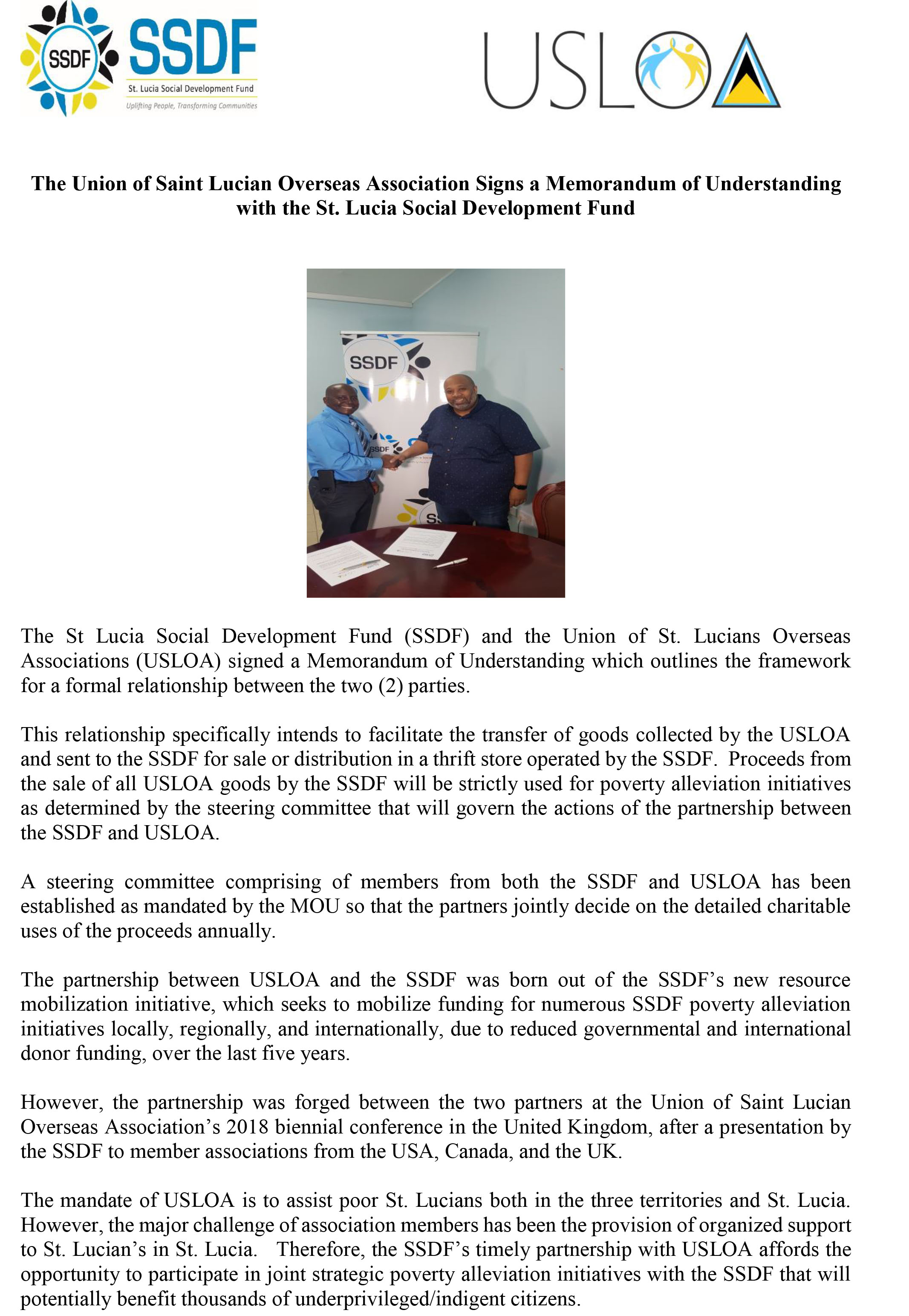 Press Release Signing of MOU with USLOA